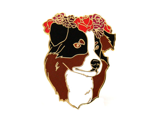 Australian Shepherd Flower Crown Enamel Pin
