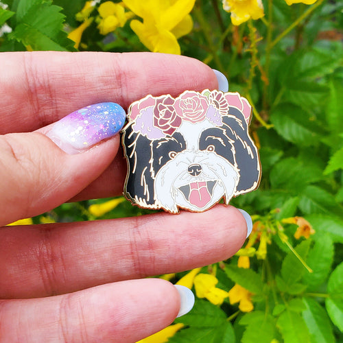 Shih Tzu Flower Crown Enamel Pin