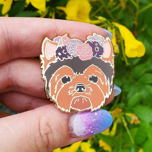 Yorkshire Terrier  Flower Crown Enamel Pin