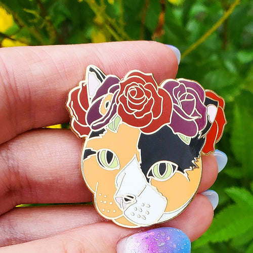 Calico Cat Flower Crown Enamel Pin