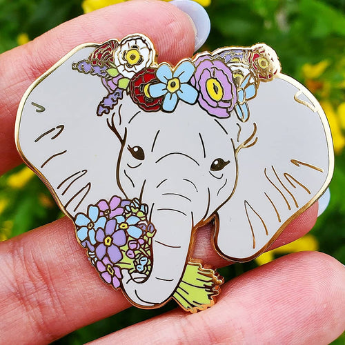 Forget me Not Alzheimer's Elephant Enamel Pin