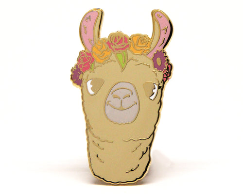 Llama Flower Crown Enamel Pin