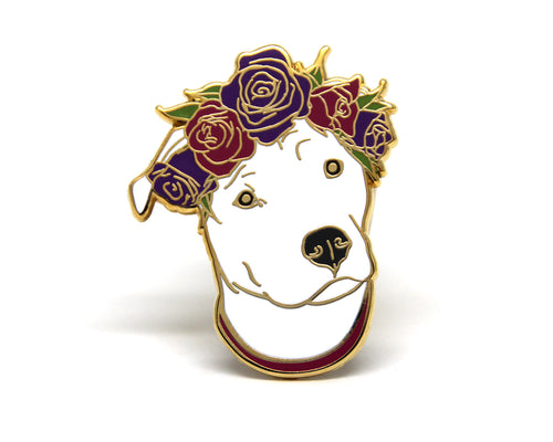 Solid White Pit Bull Flower Crown Enamel Pin