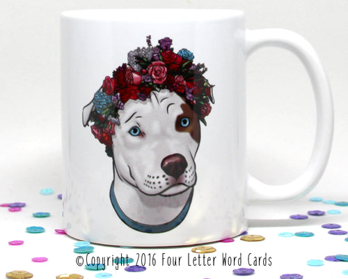Pit Bull Flower Crown Coffee Mug (SLIGHTLY BLEMISHED)