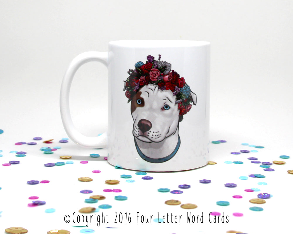 Pit Bull Flower Crown Coffee Mug