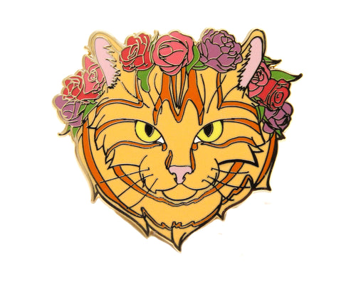 Orange Tabby Cat Flower Crown Enamel Pin