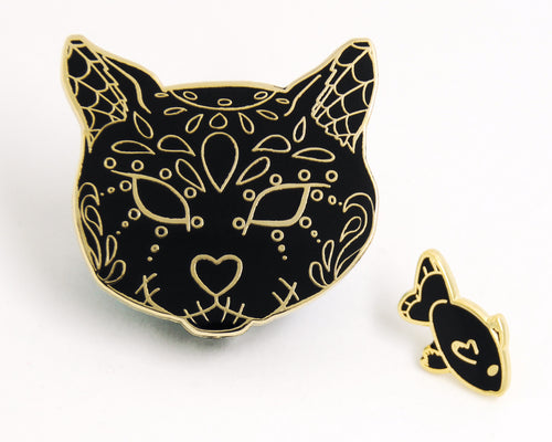 Black and Gold Sugar Skull Cat Enamel Pin Set