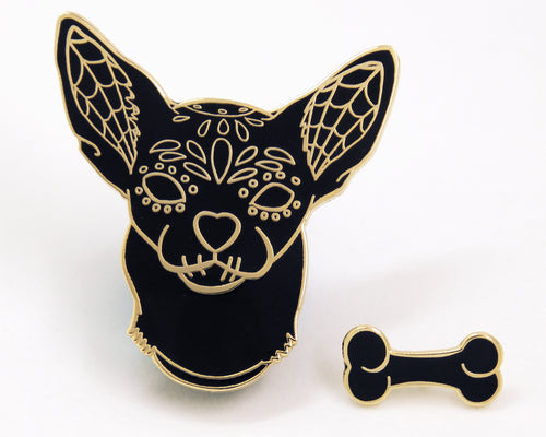 Black and Gold Sugar Skull Dog Enamel Pin Set