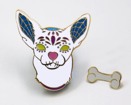 White Sugar Skull Dog Enamel Pin Set