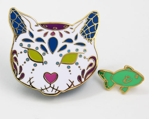 White Sugar Skull Cat Enamel Pin Set