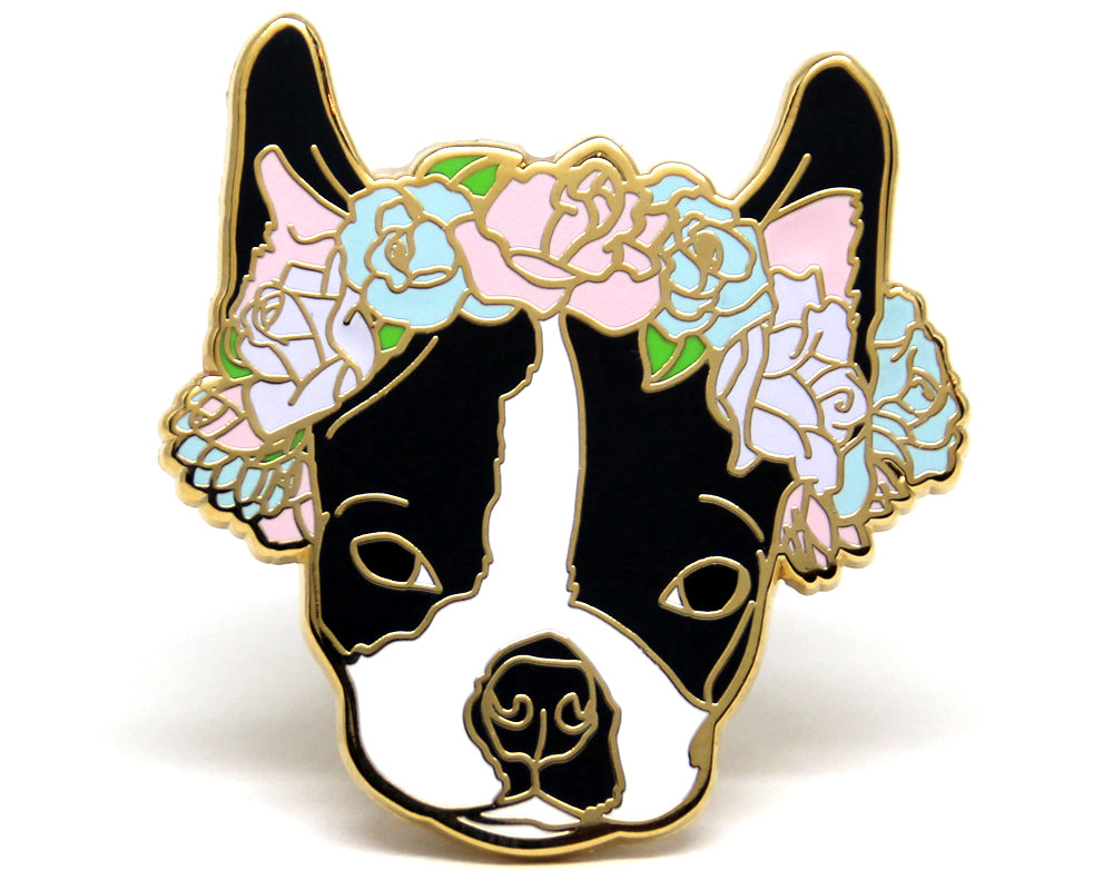 SECOND SALE Boston Terrier Flower Crown Enamel Pin