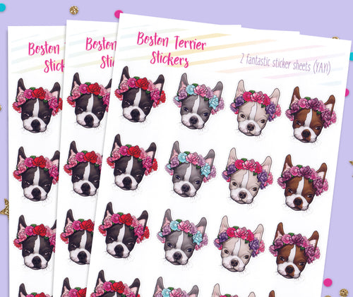 Boston Terrier Flower Crown Stickers