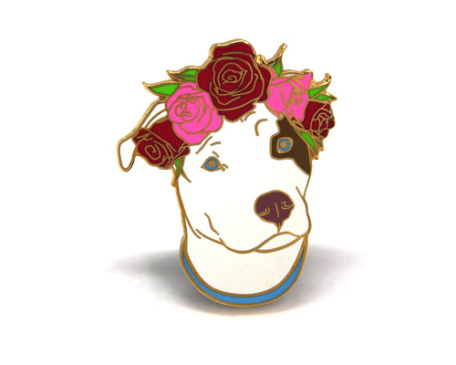 SECOND SALE Original Brown and White Pit Bull Flower Crown Pin