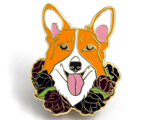 SECOND SALE Corgi Flower Collar Enamel Pin