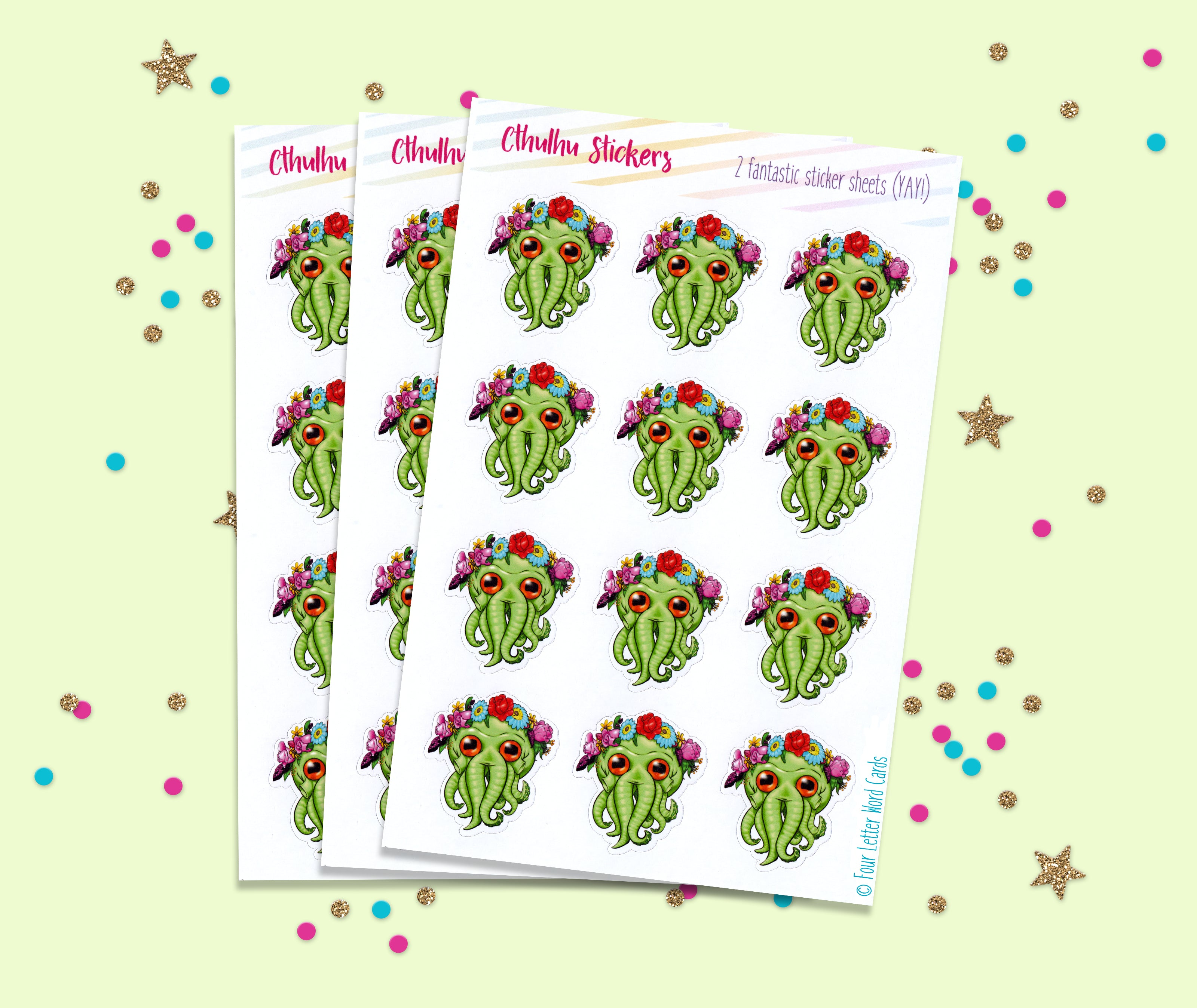 cthulhu flower crown stickers – fourletterwordcards