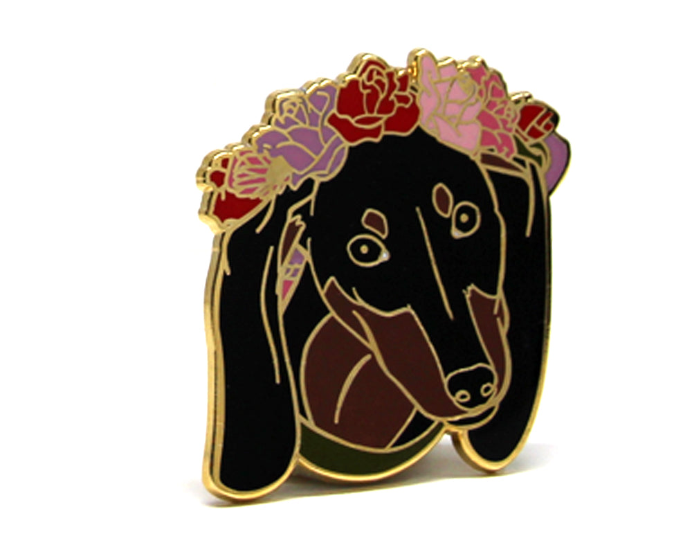 SECOND SALE Dachshund Flower Crown Enamel Pin