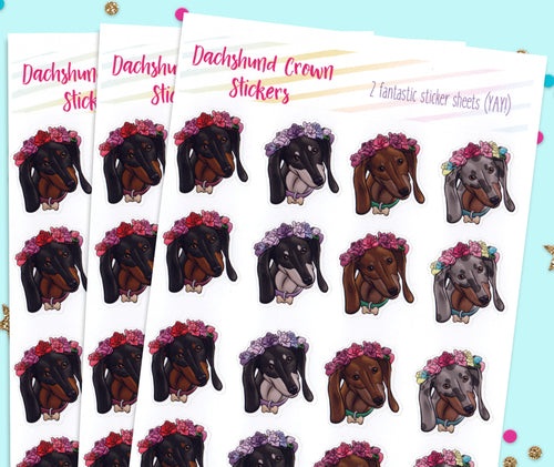 Dachshund Flower Crown Stickers