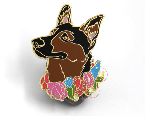 SECOND SALE German Shepherd Flower Collar Enamel Pin