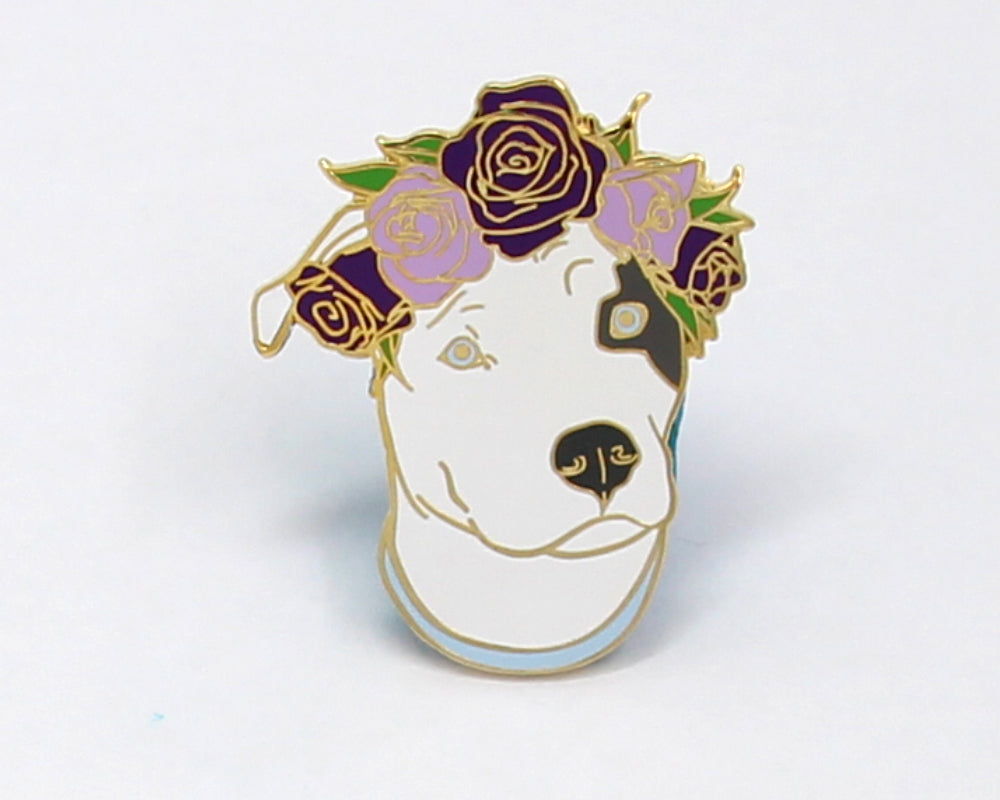 SECOND SALE Dark Gray and White Pit Bull Flower Crown Enamel Pin