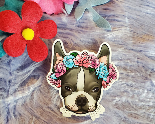 Boston Terrier Vinyl Sticker - GRAY