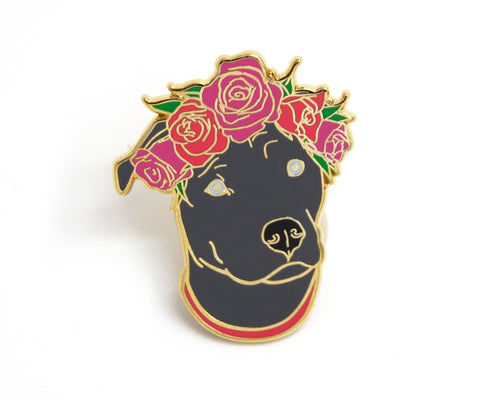 SECOND SALE Gray Pit Bull Flower Crown Enamel Pin