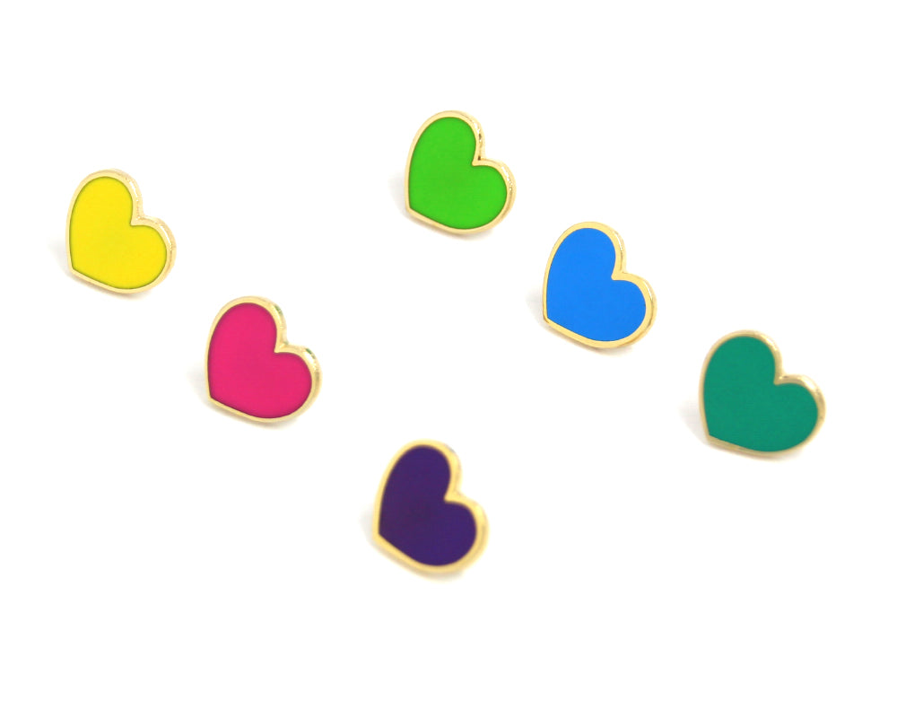 Bright Neon Heart Enamel Pins 6 Pack
