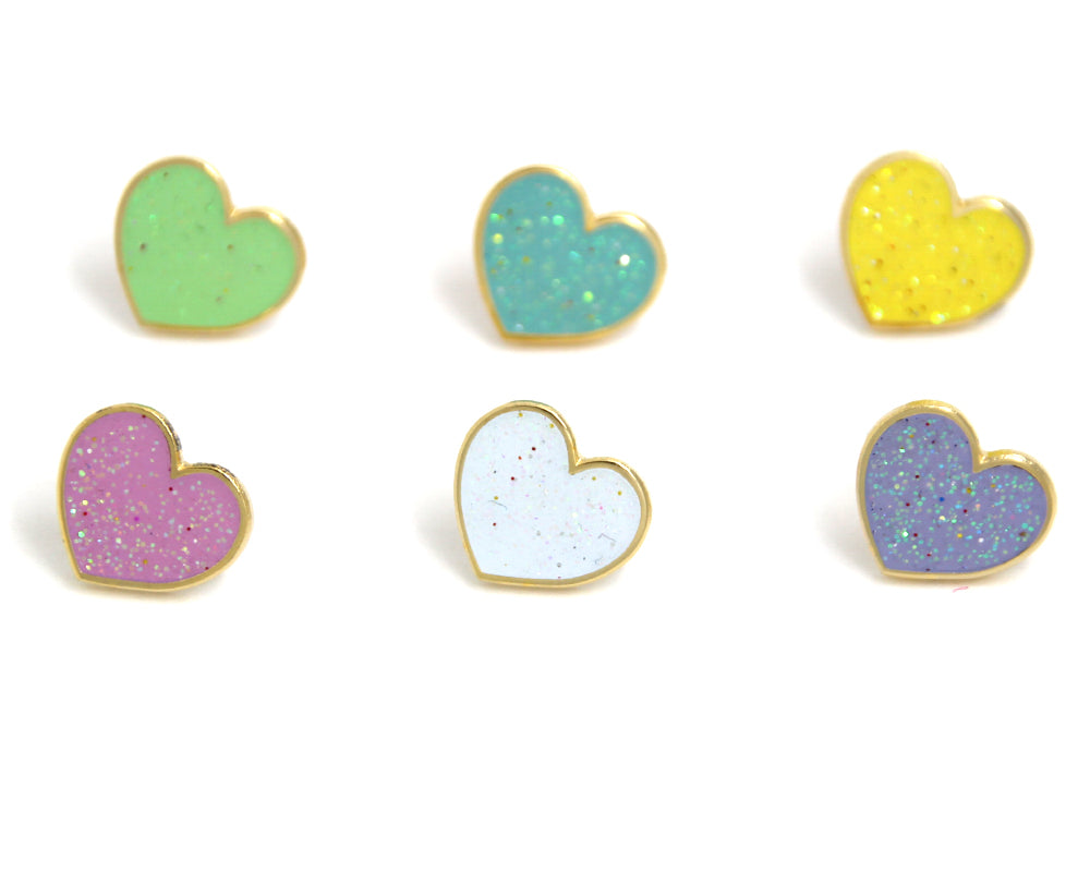 Mini Pastel Heart Enamel Pins Pack