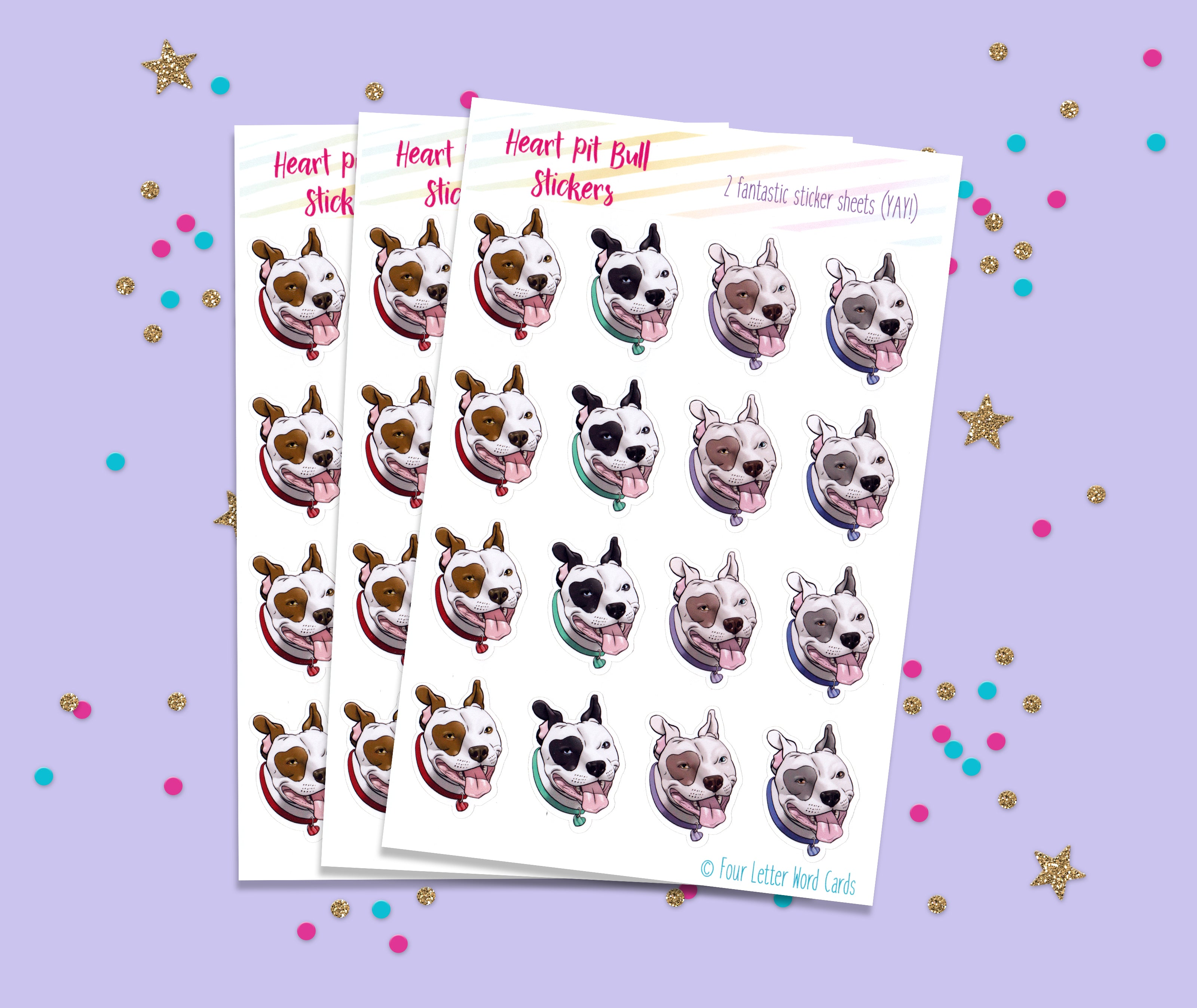 Heart Pit Bull Stickers