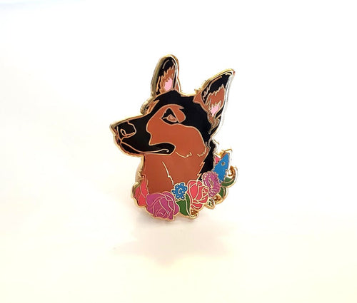 German Shepherd Flower Collar Enamel Pin