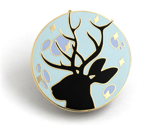 SECOND SALE Blue Jackalope Moon Enamel Pin