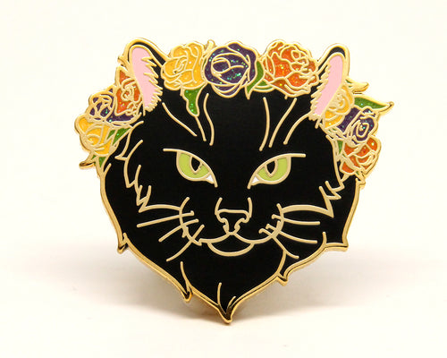Black Cat Glitter Flower Crown Enamel Pin