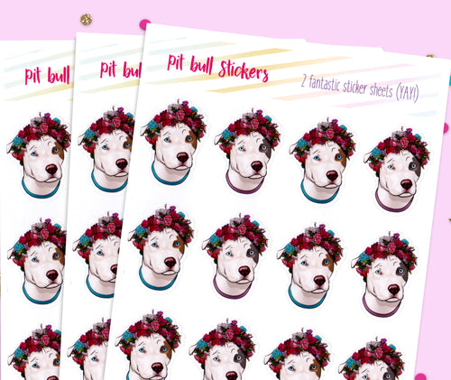 Pit bull Flower stickers