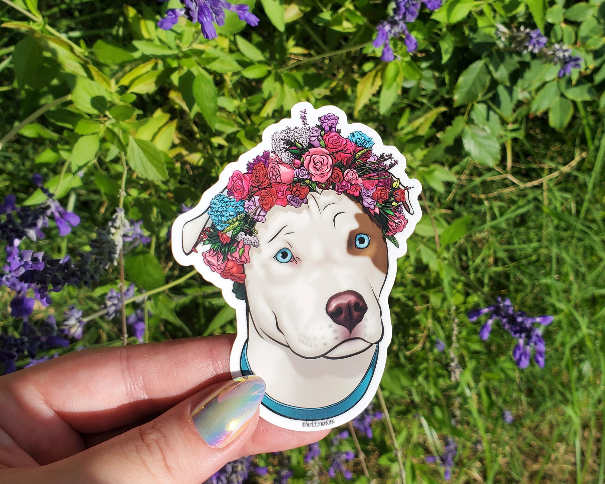 Brown and White Pit Bull Vinyl Sticker