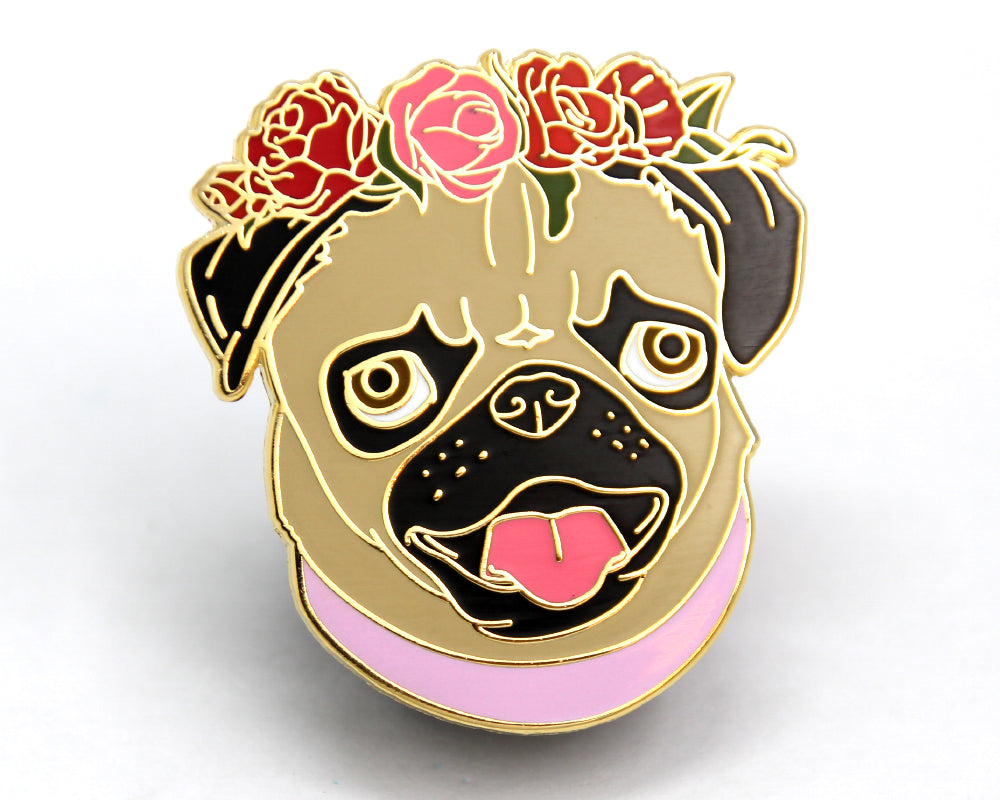 Flower Crown Pug Dog Enamel Pin