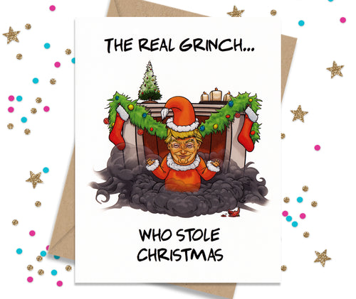 Funny holiday cards fourletterwordcards the real grinch who stole christmas trump card funny christmas cards m4hsunfo