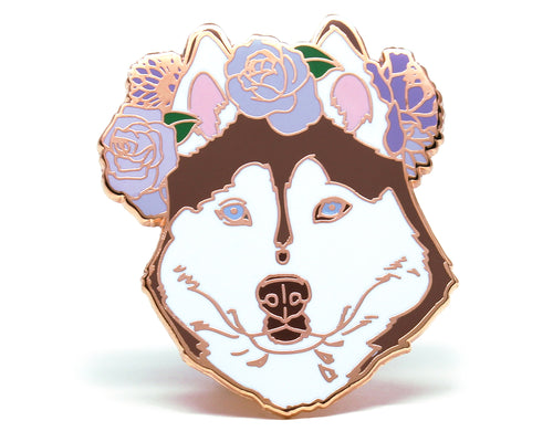 Red rose gold Husky Flower Crown Enamel Pin