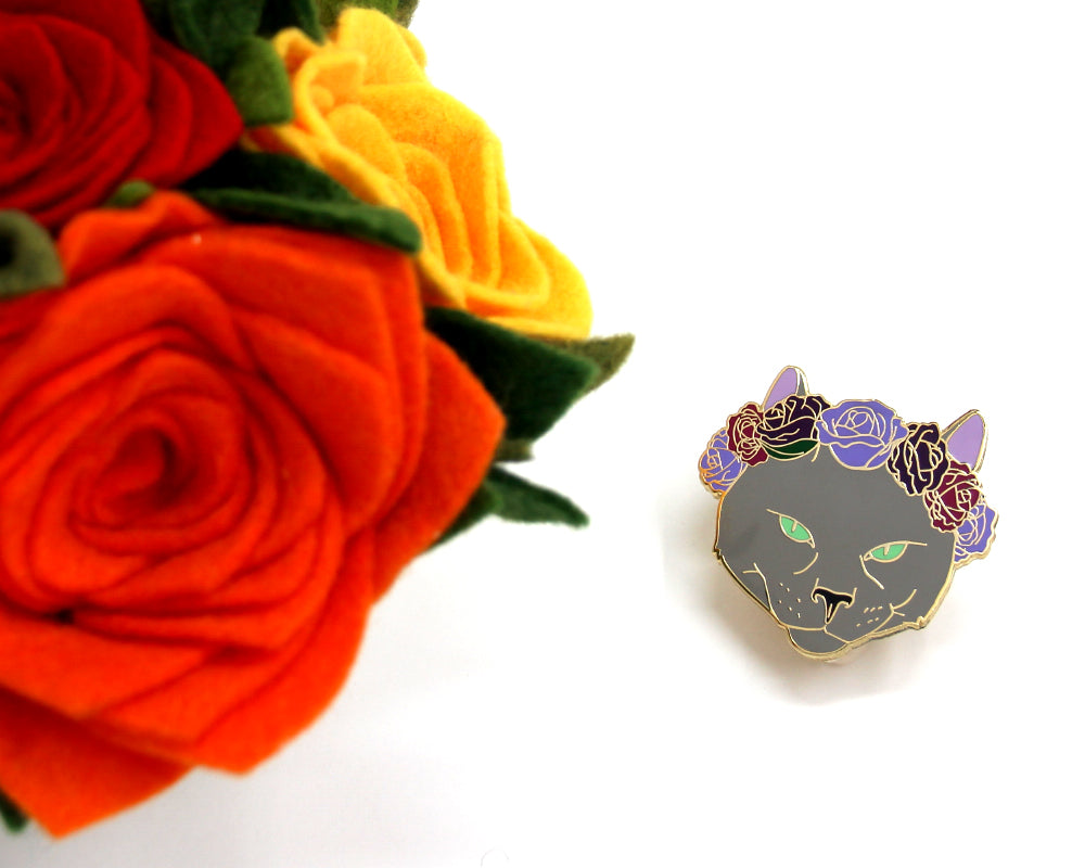 Russian Blue Cat Flower Crown Enamel Pin