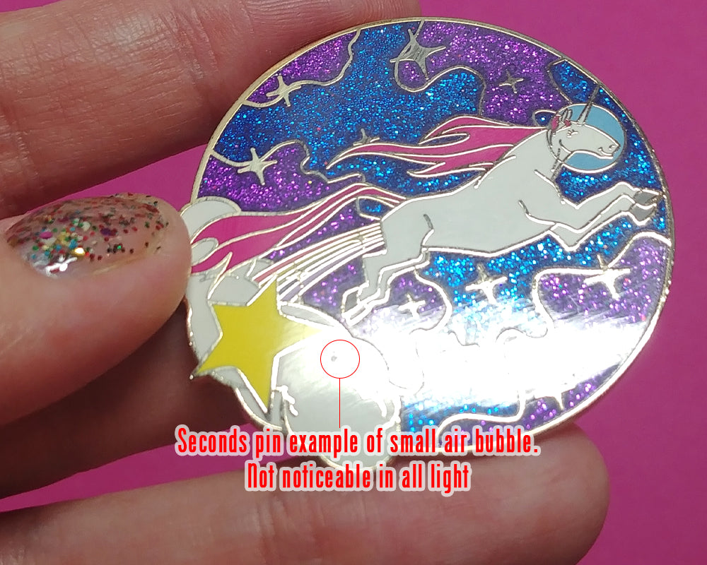 SECOND SALE Pink Jackalope Moon Enamel Pin