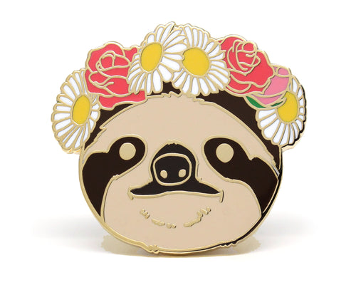 Sloth Flower Crown Enamel Pin