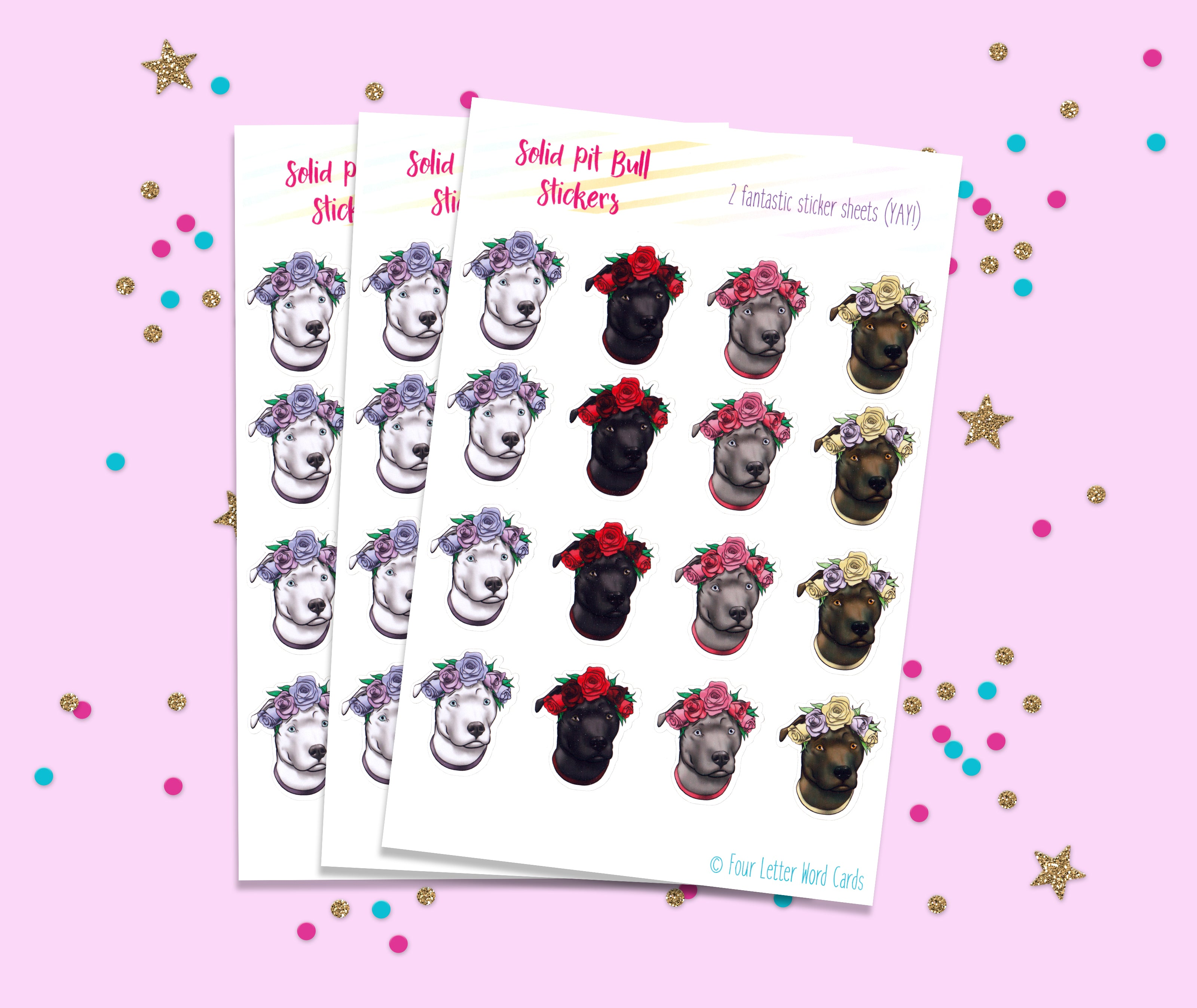 Solid Color Pit bull Flower stickers
