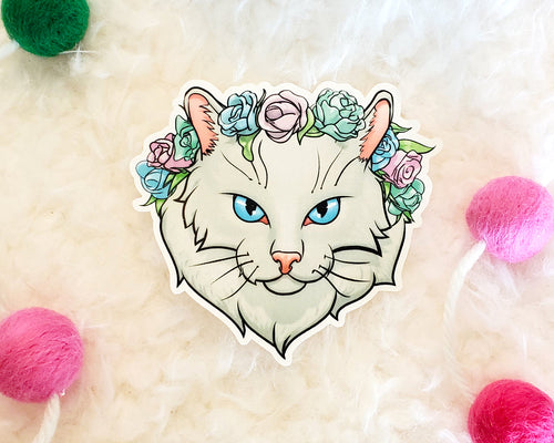 Long Haired Cat Vinyl Sticker - White