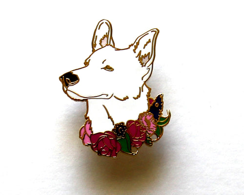 SECOND SALE White German Shepherd Flower Collar Enamel Pin