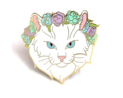 Pastel White Cat Flower Crown Enamel Pin