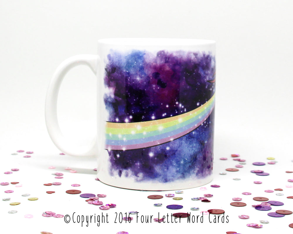You're Fucking Out of This World Space Unicorn Coffee Mug