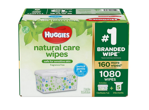 Huggies Natural Care Baby Wipe Refill Unscented 1080 Ct Tub Tissue