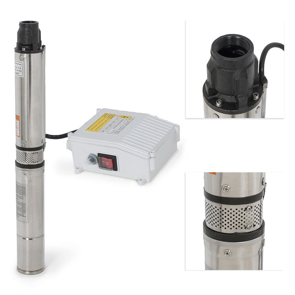 Submersible Well Pump 200FT 33GPM 110V 1HP Deep Stainless Steel Water