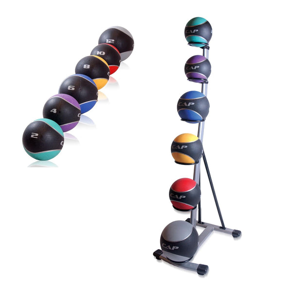 CAP Barbell Medicine Ball Set with Spinal Rack Strength Training Fitness Workout