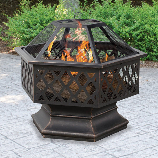 Steel Hex Fire Pit Place Outdoor Home Camping Portable