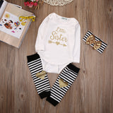 Little Sister Baby Girl 3 Piece Outfit Romper + Leg Warmers + Headband