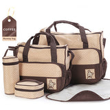 Waterproof 5PCS/Set  Nylon Baby Diaper Bags Multi-function Large Capacity Overnight Mommy